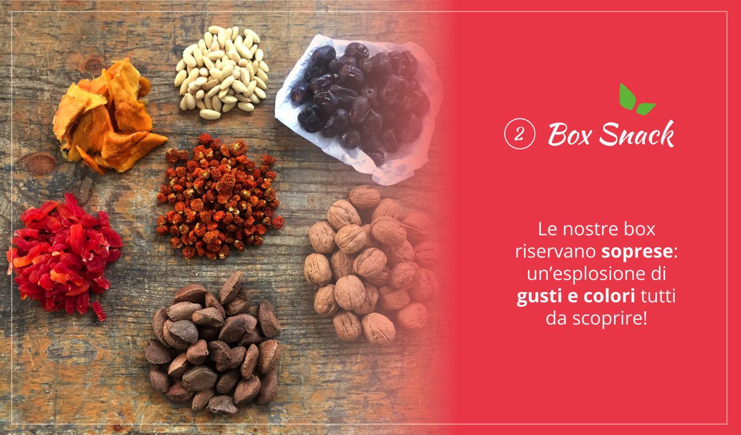 il box snack energetico contenente sette varietà di alimenti