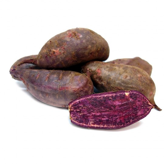 Sweet potatoes red skin and violet flesh
