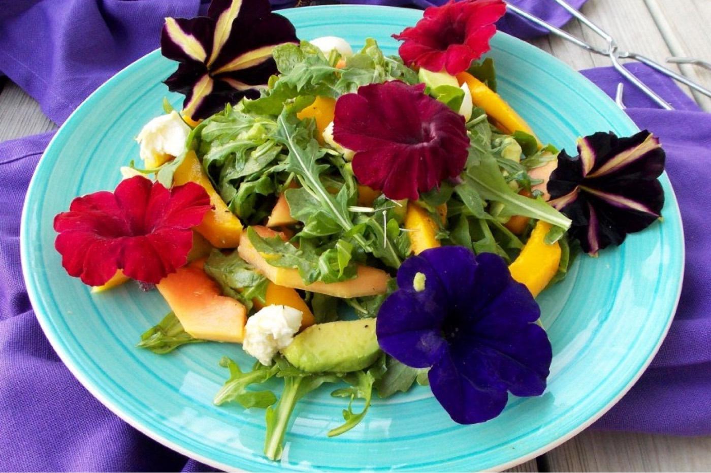Ricetta di insalata particolare a base di avocado, fiori commestibili e insalata mista