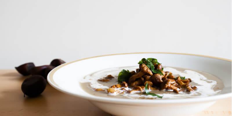 vellutata castagne e funghi porcini