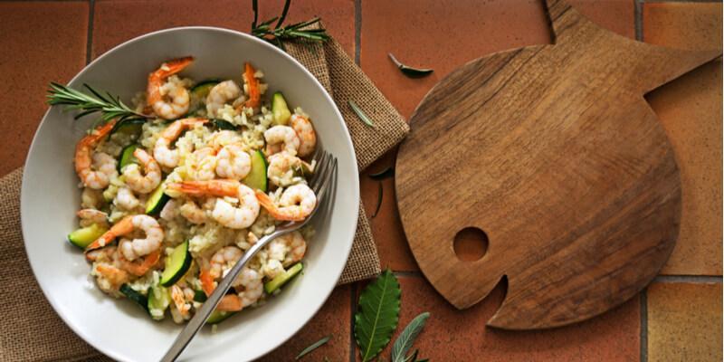 ricetta risotto con zucchine e gamberetti