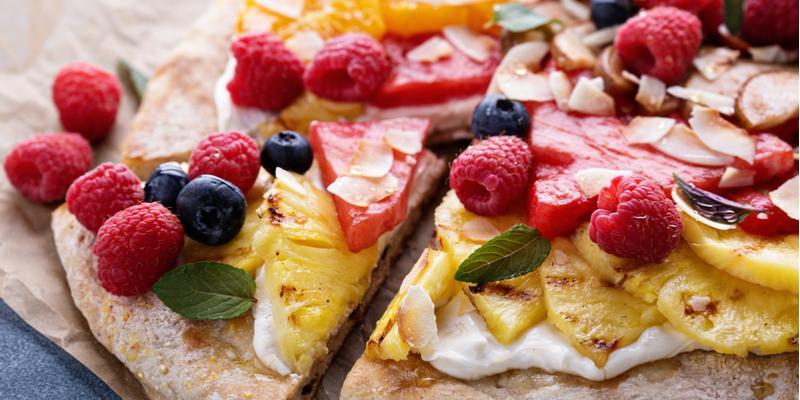 ricetta pizza vegana con frutta
