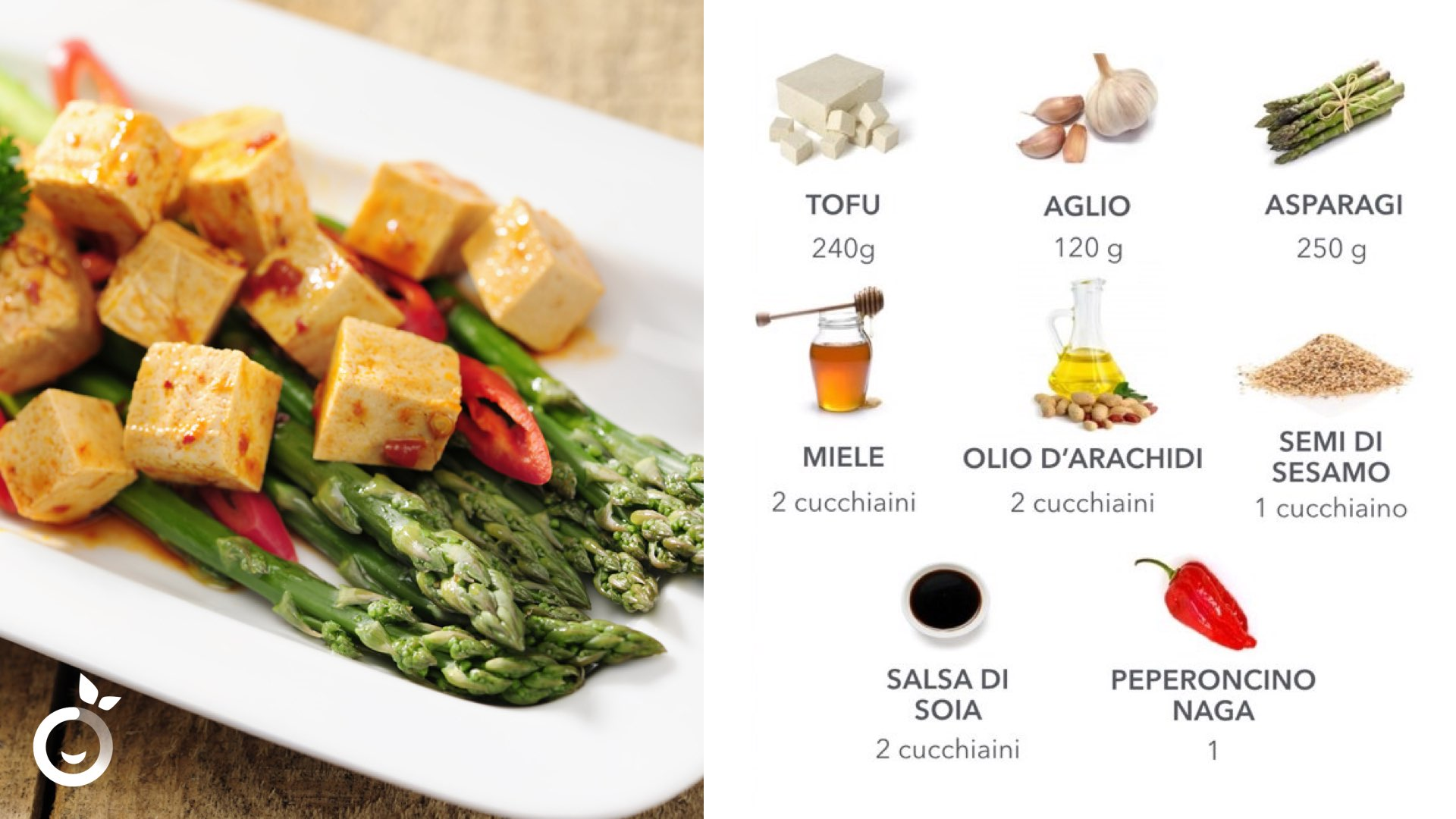 Ingredienti quadretti tofu e asparagi piccanti