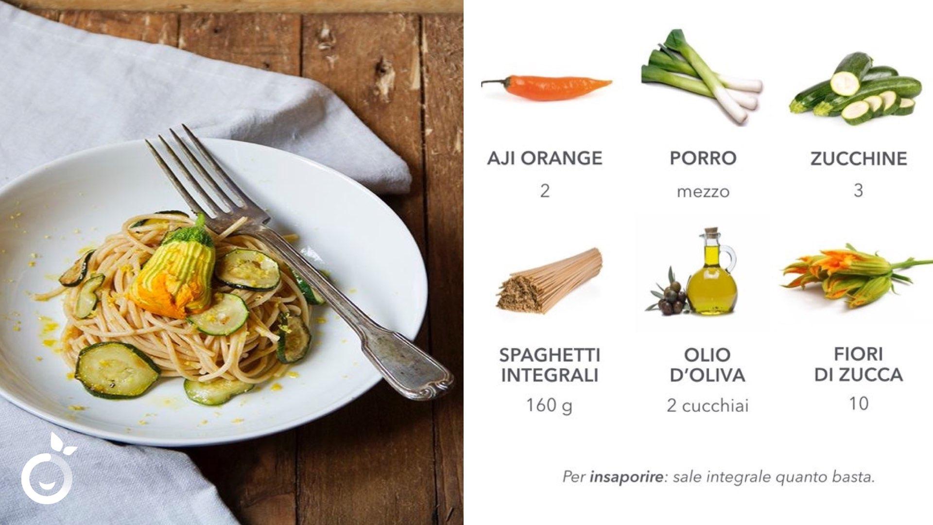 ingredienti ricetta spaghetti fiori di zucca al peperoncino aji orange