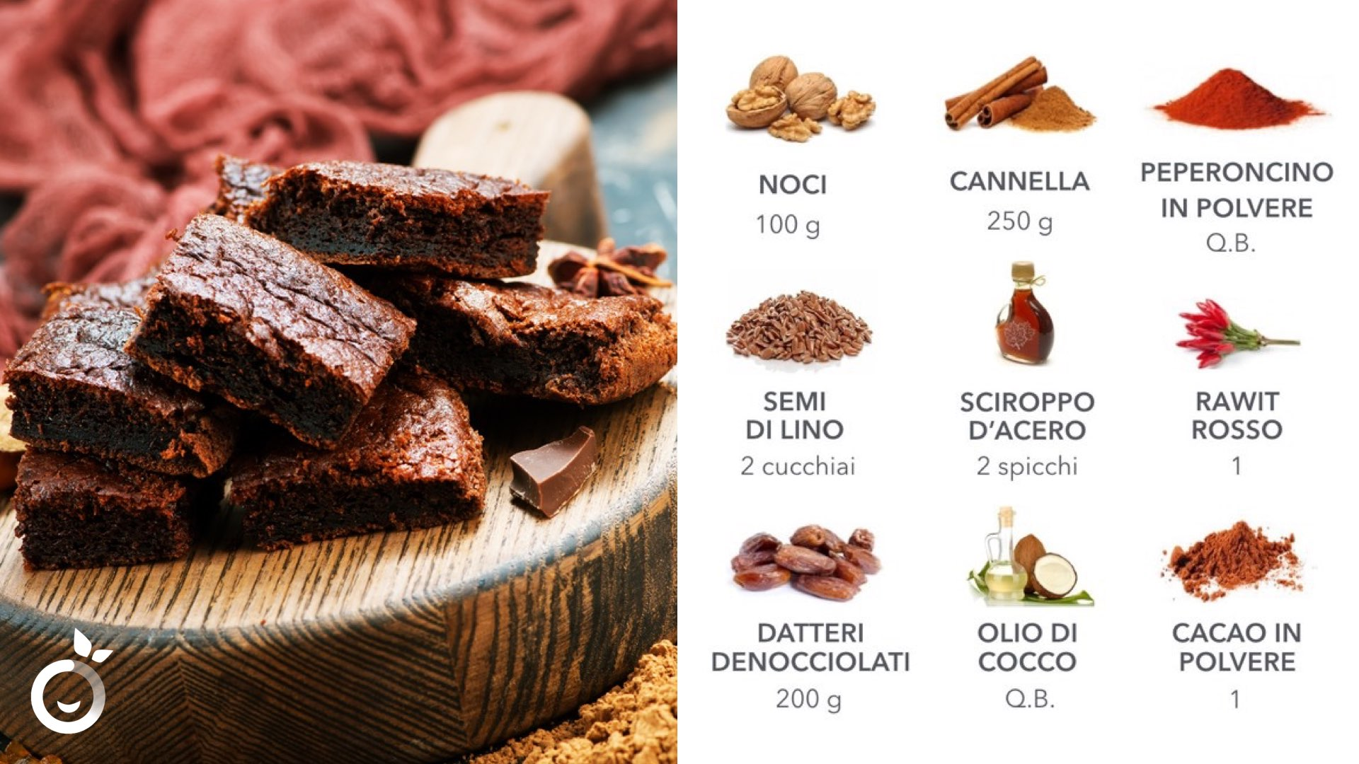 Ingredienti ricetta brownies vegani al peperoncino