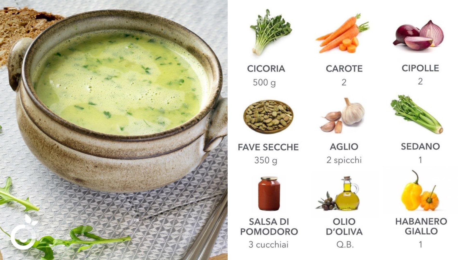 ingredienti crema di fave cicoria e habanero giallo