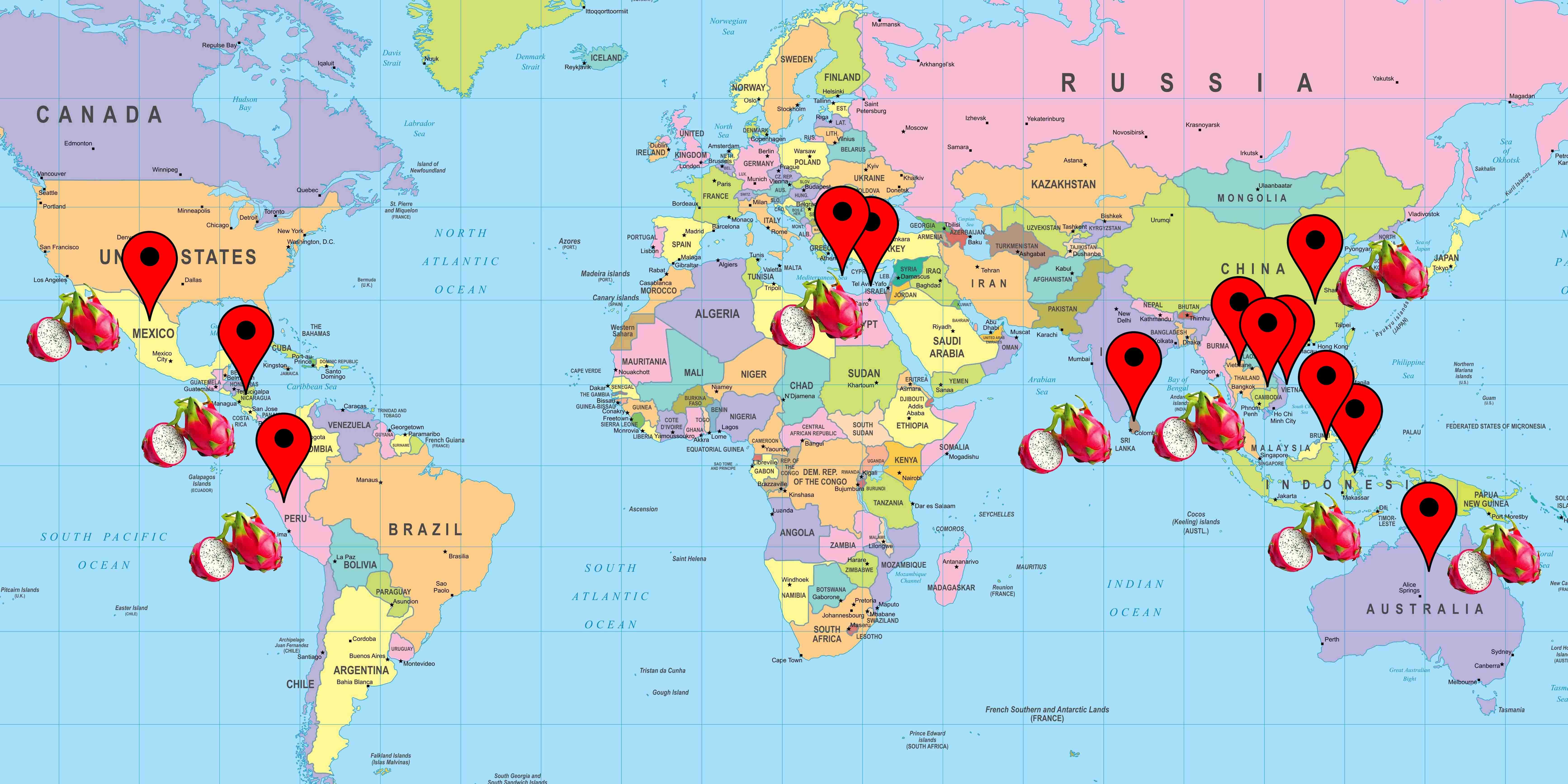 Cartina distribuzione coltivazione pitaya dragon fruit